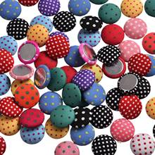 Wholesale Mixed Cloth Fabric Dot Covered Round Button Scrapbooking Sewing Accessories Flatback Scrapbook 15mm 100pcs/lot