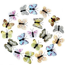 100Pcs Cheap 3D Multicolor PVC Flower Butterfly Wall Stickers For Girl Kids Baby Rooms Kitchen Home Decoration Adhesive to Wall(China)