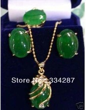 Exquisite green jades pendant Necklace ring earring/set