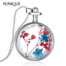 FUNIQUE Genuine Dried Flower Pendant Necklace Stylish Round Resin Cabochon Faceted Crystal Women Necklace Float Locket Living