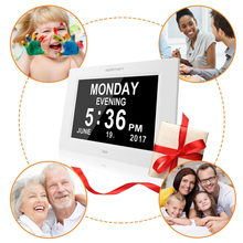 apeman Digital Calendar Alarm Clock Programmable Medication Reminder 8 Customized Alarms Support SD Card Date Day Photo Frame