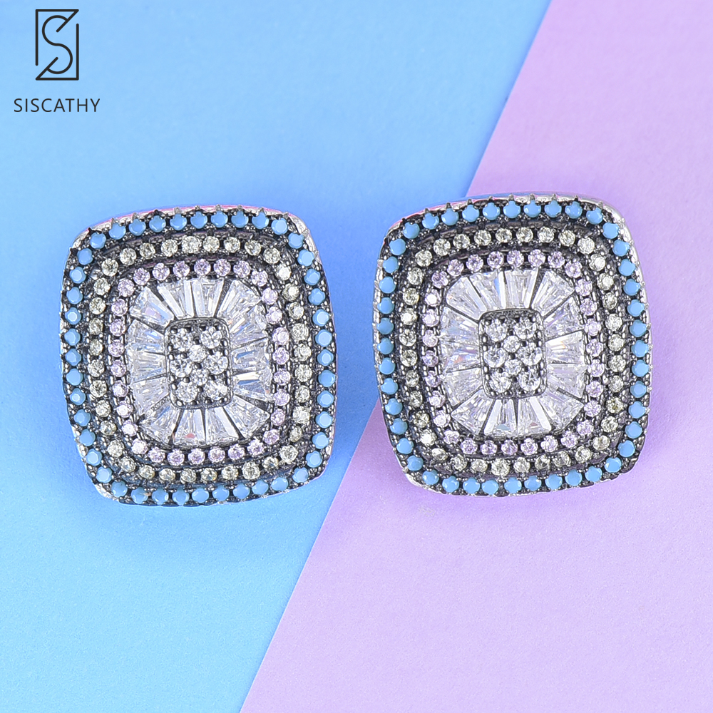 SisCathy Fashion Shining Full Cubic Zirconia Crystal Earrings Luxury Square Shape Silver Stud Earrings For Women Jewelry New