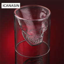 4pcs/set Double Layer Wine Glass Cup Crystal Skull Head Whisky Vodka Shot Cocktail Wine Glass Home Bar Novelty Cups 25/75/150ML(China)