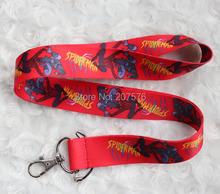 Free Shipping 10pcs cartoon Spiderman Necklace Strap red Lanyards Cell Phone PDA Key ID Strap Charms C-236(China)