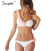 Simplee Sexy 3D flower one shoulder bikini set Padded two-piece white swimwear women Vintage summer beach swimsuit biquini