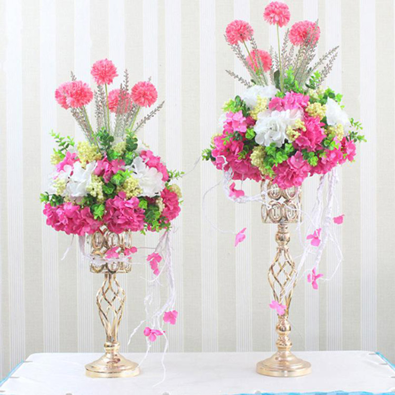 Metal Gold Candle Holders Road Lead Table Centerpiece Stand Pillar Candlestick For Wedding Candelabra Flowers Vases
