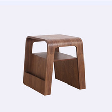 Walnut Finish Magazine End Table