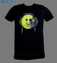 Cheap Tee Shirts Graphic Men Crew Neck Smiley Face Headphones Skull Music Dj Dubstep Short-Sleeve T Shirts(China)