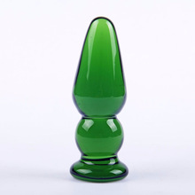 Buy Bullet Gourd Shape Anal Plug Emerald Color Anal Butt Plug Smooth Cone Crystal Glass Large Conical Butt Plug Adult Sex Toys