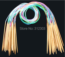 "[2.0-10.0mm] 18Pcs 32"" 80cm Multicolor Plastic Tube Circular Carbonized Bamboo Knitting Needles Craft Set For Weave Handcraft(China)"