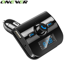 Onever Bluetooth Car Kit Music Player FM Transmitter Hands-free Modulator With 3.1A USB Charger TF Slot DC 12-24V USB For Iphone