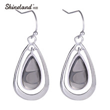 Shineland Latest Brand Design Fashion Silver Resin Water Drop Earrings Elegant Vintage Jewelry Accessories brincos for Women(China)