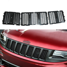 Sosung Chrome Black ABS Inserts Honey Comb Mesh Grille Trim Grill for Grand Cherokee SRT8 2014-2016 Car