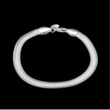 Fashion Europe  Elegant Lady 925  Silver Bracelet Flat Snake Bones Bracelet - Male Models
