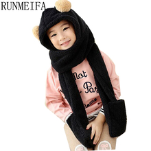 [RUNMEIFA] 2017 Winter Warm children Hoodie Gloves Pocket Earflap Hat Long Scarf Shawl Snood Wraps shopping(China)