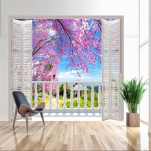 Custom Photo Wallpaper 3D Stereo Large Murals False windows / romantic cherry spring field sofa bed bedroom flash silver cloth