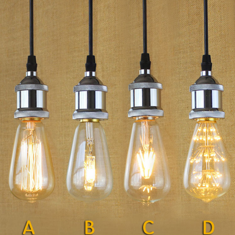 E27 Modern Silver Simple Filament Pendant Light For Bar Cafe Living Room Home Holiday Decoration Eddison Bulb Kits<br><br>Aliexpress