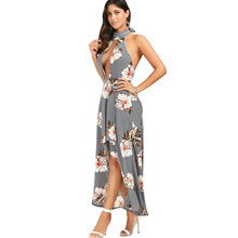 Gamiss Sexy Dress Club Wear Halter Neck Hollow Out Backless Floral Pattern High-low Hem Women Dresses Party Maxi Long Vestido