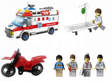 Enlighten 328PCS City Rescue Emergency Ambulance Plastic Motorcycle Building Blocks Kids Gifts Figure Sets Compatible With Lepin(China)