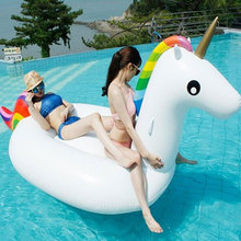 2m Unicorn Swimming Float Inflatable Unicorn Swimming Float Unicorn Pool Float Tube Raft Woman Swimming Ring Summer Water Toy(China)