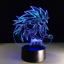 Hot sale Super Saiyan people Colorful gradient 3D night light Creative remote control or touch switch night light