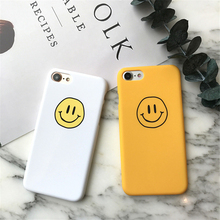 Cartoon Smiley Face Phone Casing for Apple iPhone 5 5s 6 6s 7 Plus Yellow White Scrub Hard PC Cover Case Shockproof Fundas Coque