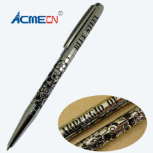 Etching Logo Pen Unique Design Brass Ballpoint Pen Embossing Pattern Famous Branded Pens for Retail Shop Pen & Pencil Supplier(China)