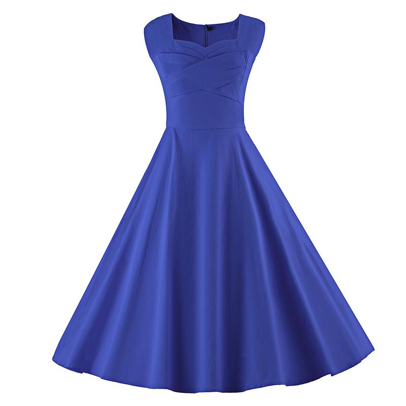 Kostlich 6 Color Retro Summer Dress Women 2017 Sleeveless Hepburn 50s Vintage Dress Elegant Big Swing Rockabilly Party Dresses (18)