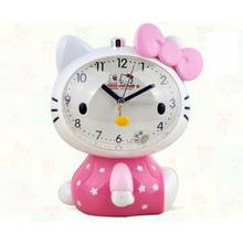 2016 Hello Kitty Children Mute Alarm Clock With Night Light Multiple Ring Tones Bedside Alarm Birthday Gift(China)