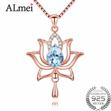 Almei 1.2ct Rose Gold Color Lotus Flower Light Sky Blue Topaz Pendant Necklace 925 Sterling Silver Jewelry with Box Chain CN054(China)