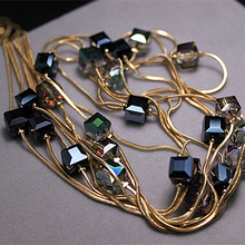 Europe Fashion Crystal Jewelry Accessories, Austrian Crystal Bead Long Necklace Sweater Chain Necklaces & Pendants For Women(China)