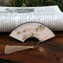China Ink Painting Vintage Mountain Water Pattern Original Classic Sector Shape Paper Handmade Tassel Bookmarks PL