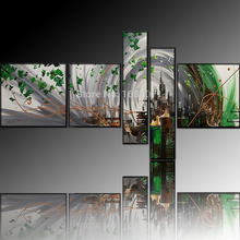 Dafen Oil Painting Village Factory Wholesale High Quality Handmade 5 Panels Abstract City Landscape Oil Painting for Living Room(China)