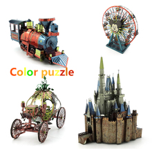 Color 3D Puzzle Playground Princess Carriage Pumpkin Ferris Wheel Metal Assembly Model Cinderella Castle Sleeping Beauty(China)
