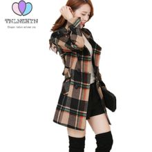 Young lady clothes spring autumn winter woolen coat lattice women overcoat high-end large size slim leisure Outerwear TNLNZHYN