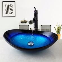 US Brass Glass Vessel Sink Drain Bathroom Sink Faucet Round Taps Counter Top Water Combo Set Mixer Vanity Stream Spout(China)