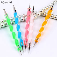 1PCS 2Way Marbleizing Dotting Manicure Tools ZQ 2017 Painting Pen Nail Art Paint Random Colors