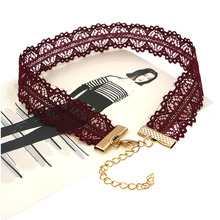 Simple Style Rose Red Lace Chain Hollow Flower Chokers Necklaces for Women Fashion Collar Necklaces for Girls Jewelry Wholesale