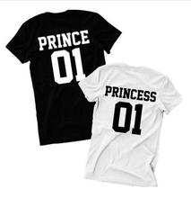 Women Funny Letter Print Tshirt Prince Princess 01 Couples T-shirt 2017 Summer Cotton Tops Hipster Unisex T shirts Tees Outfit