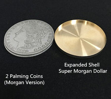 Expanded Shell +2 Palming coins Magic Set Coin Appearing Tricks Coin Magic 3.8cm Close Up Magic Professional Magic Trick