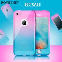 Roybens !!!360 Full Coverage + Tempered Glass Phone Cases for iPhone 5S Case iPhone5 SE Colorful Ultra Thin Matte Clear Hard PC(China)