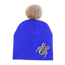 promotion boy girl novelty hip hop winter hat custom design spide style rhinestone children skullies cap gorros baby cute beanie