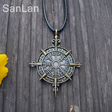 Viking Vegvisir Compass Protection Symbol Guidepost Direction Sign Pendant Necklace Viking SanLan Jewelry