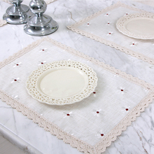 yazi Vintage Embroidered Flower Lace Table Placemat 30x45cm Cotton Linen Kitchen Dining Table Mat(China)
