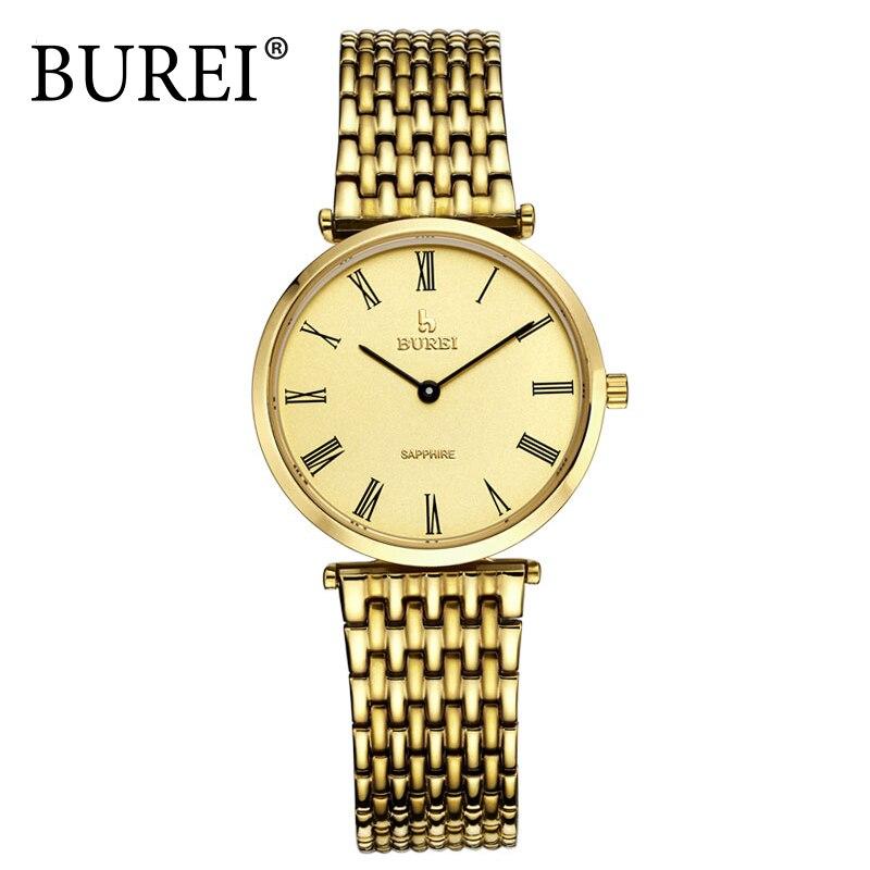 BUREI Gold Men Leisure Watch Sapphire Glass Full Steel Clock Waterproof Wristwatch Fashion Male Quartz watches Erkek Kol Saati<br><br>Aliexpress