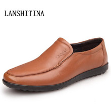 LANSHITINA Men's Genuine Leather Shoes Business Dress Moccasins Flats Slip On New Men's Casual Shoes Dress Mens Business Shoes