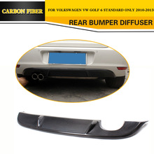 Car Styling Carbon Fiber Rear Diffuser Lip Fit For VW Golf VI MK6 standard Bumper 2010-2013(China)