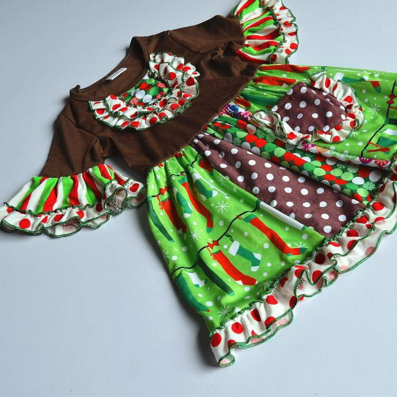 Christmas Design with a pocket and short Flare sleeves 100%cotton Summer and Bib Baby Girls Dress Apparel Accessory for present<br>