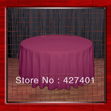 "Hot Sale 132"" R Raspberry Round Table Cloth Polyester Plain Table Cover for Wedding Events &Party Decoration(Supplier)(China)"
