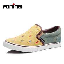 FONIRRA Men Jeans Canvas Shoes Casual Flat Fashion Men's Loafers Shoes Male Slip on Breathable Round Toe Flats Moccasins 039(China)
